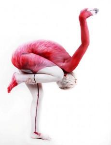 Human Flamingo. Bodypainting: Gesine Marwedel